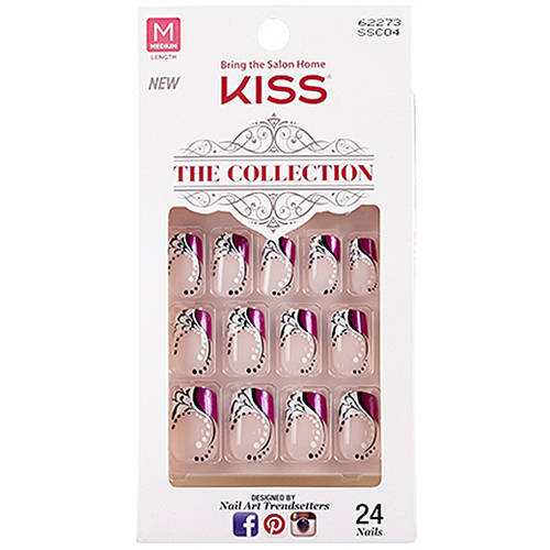 Kiss The Collection Medium Length Nails, Fascination, 24 count