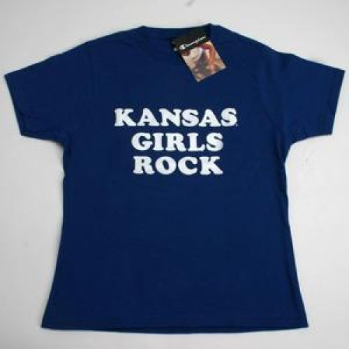 Kansas Jayhawks T-shirt By Champion - Kansas Jayhawks Girls Rock - Royal