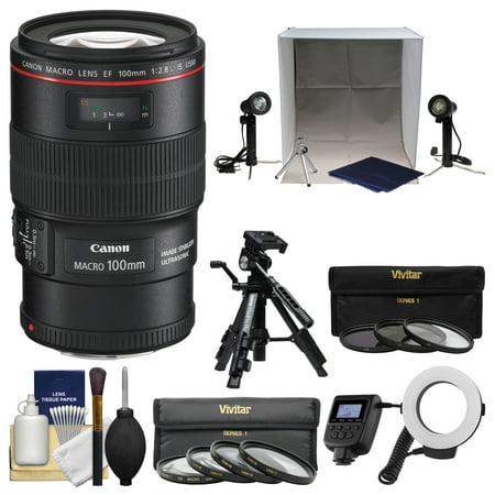 Canon EF 100mm f/2.8 L IS Macro USM Lens with Macro Ring Light & Tripod + Portable Light Box Set + 3 Filters + Kit