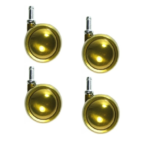 """Set of 4 Swivel Brass Planet Ball Caster 2-1/2"""" with 3/8"""" x 1"""" Grip Ring Stem"""