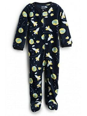Elowel Baby Boys Footed Space Rocket Pajama Sleeper Fleece 12-18 Months