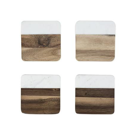Rustic Farmhouse: Marble & Acacia Coaster Set by Twine - Rustic Coasters