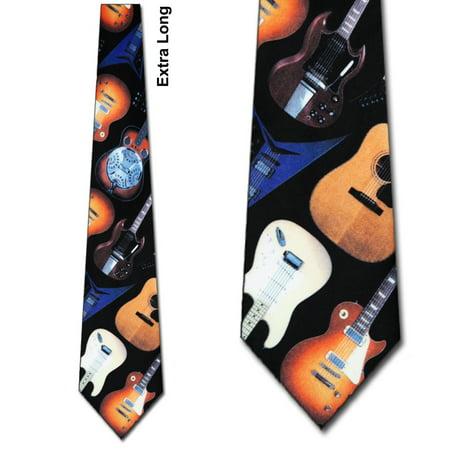 Guitar Pattern Extra Long Necktie Mens Tie by Ralp