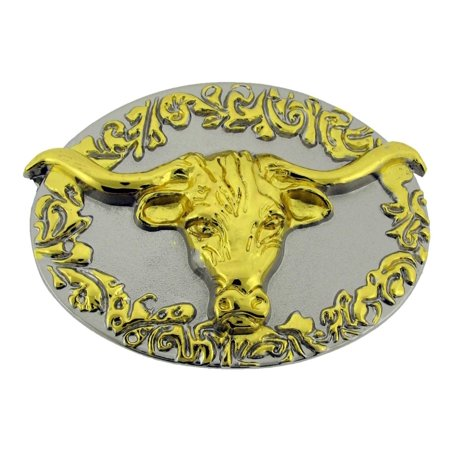 Bull Longhorn Buffalo Ox Gold Silver Two Tone Cowgirl Belt Buckle Western Rodeo (American Bull Rider Buckle)