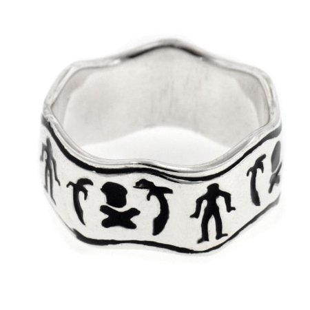 Black Bart Pirate Flag Sterling Silver Wave Band Ring