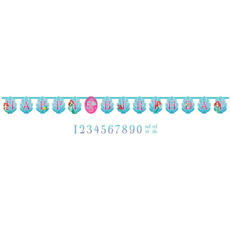 Disney Ariel Customizable Birthday Party Banner Decoration (1 Piece), Blue/Pink, 10 1/2'., Adorable cutout style Happy Birthday banner that features Ariel and.., By TradeMart - Ariel Birthday Party