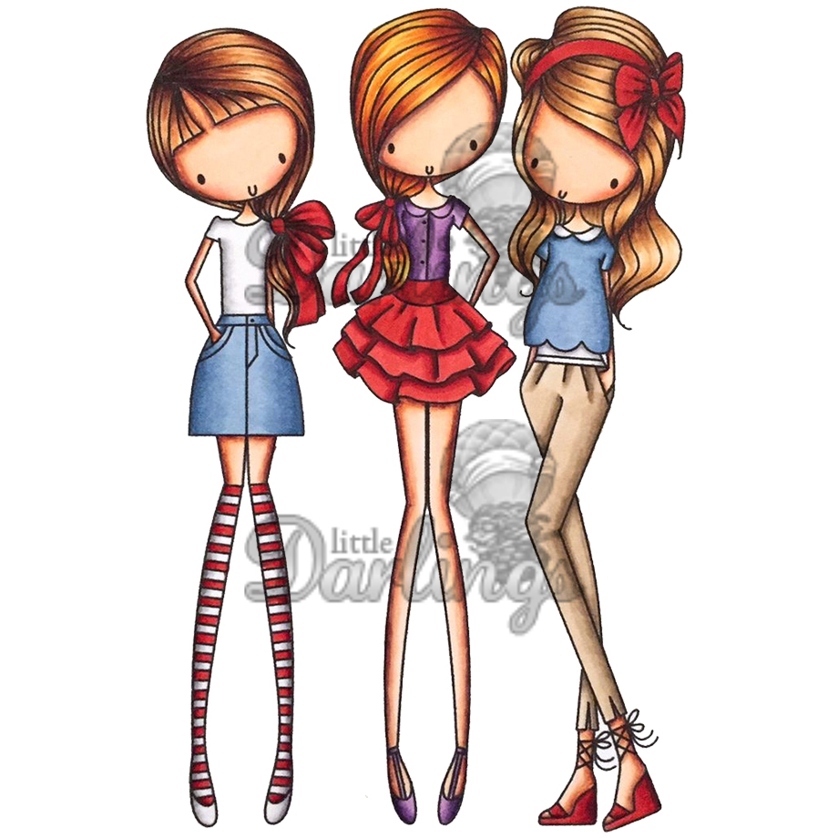 "All Dressed Up Cling Stamp 4""X7""-Girl's Night Out"