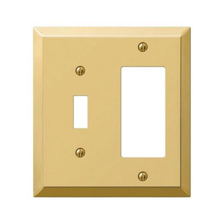 163TRBR 1 Toggle- 1 Rocker Combo Polished Brass Stamped Steel Wall Plate 1 Toggle / 1 Rocker