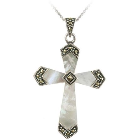 Pearl Cross (Sterling Silver Mother of Pearl and Marcasite Cross)
