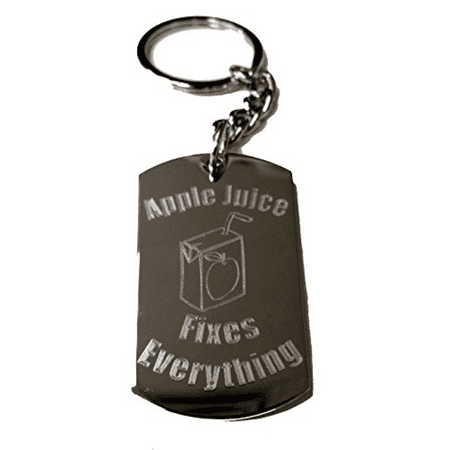 Apple Juice Fixes Everything - Metal Ring Key Chain Keychain