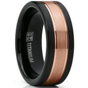 Titanium Ring Wedding Band, Rose Tone Black Brushed Engagement Ring, Grooved, Comfort Fit 7-13