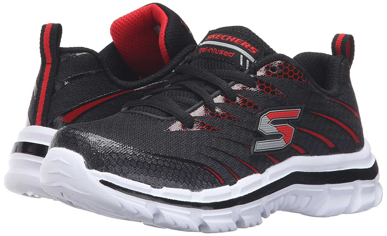 Skechers Kids Nitrate Sneaker (Little Kid/Big Kid), Black/Red, 11 M US Little Kid