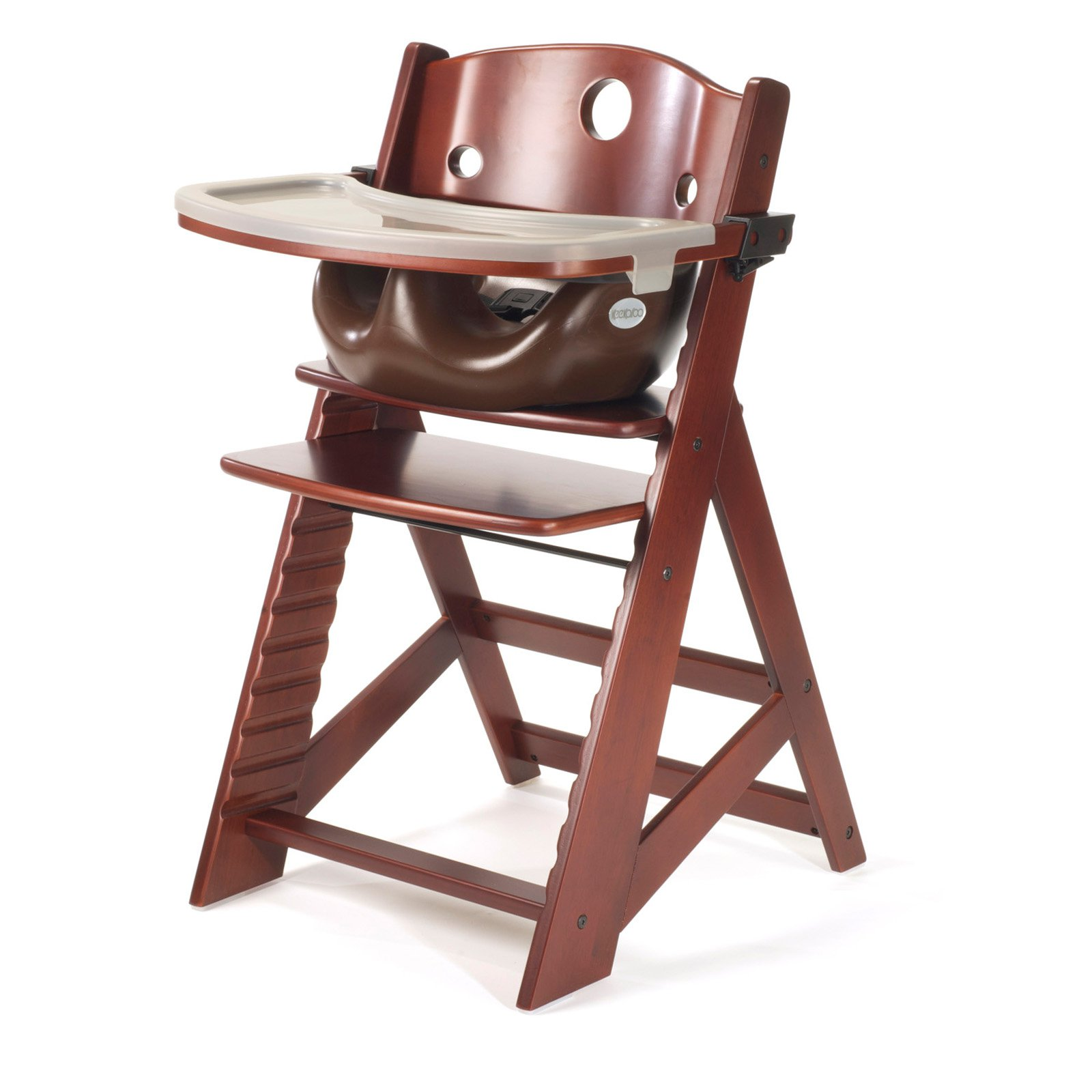 Keekaroo Height Right High Chair Mahogany with Chocolate Infant Insert and Tray