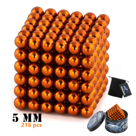 358d2ec4e2a52 Orange Color Set of 216 pcs (5 mm) Magnetic Balls Beads, Round Buildable  Rollable Magnets, Stress Relief Desk Office Toys, Multi-Use Craft & ...