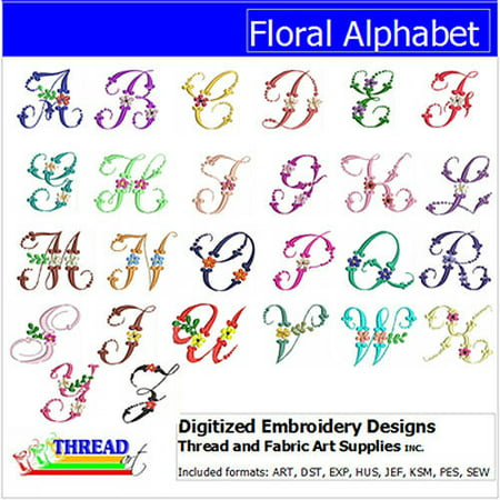 Alphabet Embroidery Design (ThreadArt Machine Embroidery Designs Floral Alphabet CD)