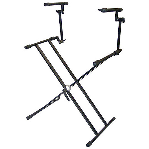 Pyle Pro 2-Tier Double X-Braced Heavy-Duty DJ Coffin/Keyboard Stand
