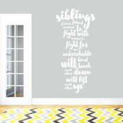 Sweetums Siblings Wall Decal Quote 22-inch x 48-inch