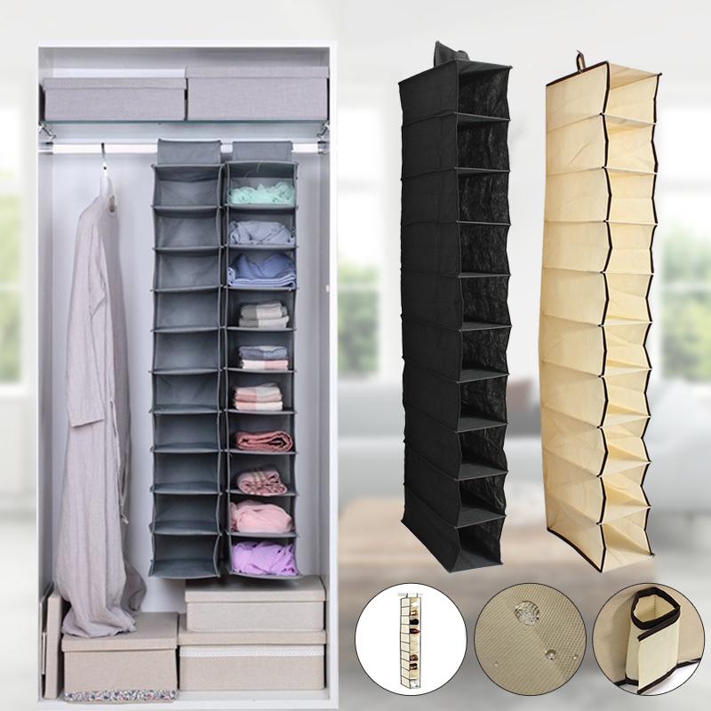 10 Section Shoes Garment Organiser Rack Pocket Stand Holder Wardrobe Hanging Bag