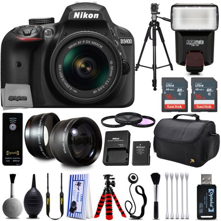 Nikon D3200 Digital SLR Camera + 18-55mm AF-S DX Nikkor VR + 2.2X Telephoto and 0.43X Macro Lens Kit + 32GB Memory + Bounce Swivel Flash + Tripod + Padded Case Bag + UV CPL FLD Filter Bundle + Remote