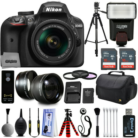 Nikon D3200 Digital SLR Camera + 18-55mm AF-S DX Nikkor VR + 2.2X Telephoto and 0.43X Macro Lens Kit + 32GB Memory + Bounce Swivel Flash + Tripod + Padded Case Bag + UV CPL FLD Filter Bundle +