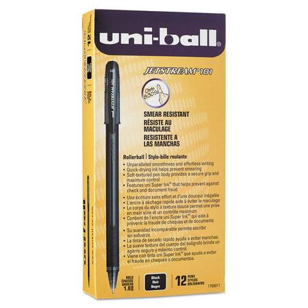 Uni Ball Jetstream 101 Roller Ball Stick Water Resistant Pen  Black Ink  Medium  Dozen