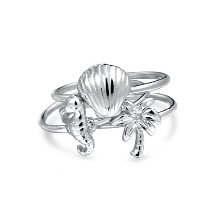 925 Sterling Silver Shell - 3 Set Nautical Shell Seahorse Palm Tree 925 Sterling Silver Midi Knuckle Stackable Ring 1MM Band For Women For Teen