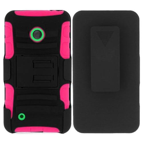 Insten Advanced Armor Hard Dual Layer Rubber Coated Cover Case w/stand For Nokia Lumia 530 - Black/Hot Pink