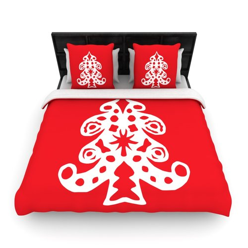 East Urban Home Miranda Mol 'Noble Pine' Holiday Woven Duvet Cover
