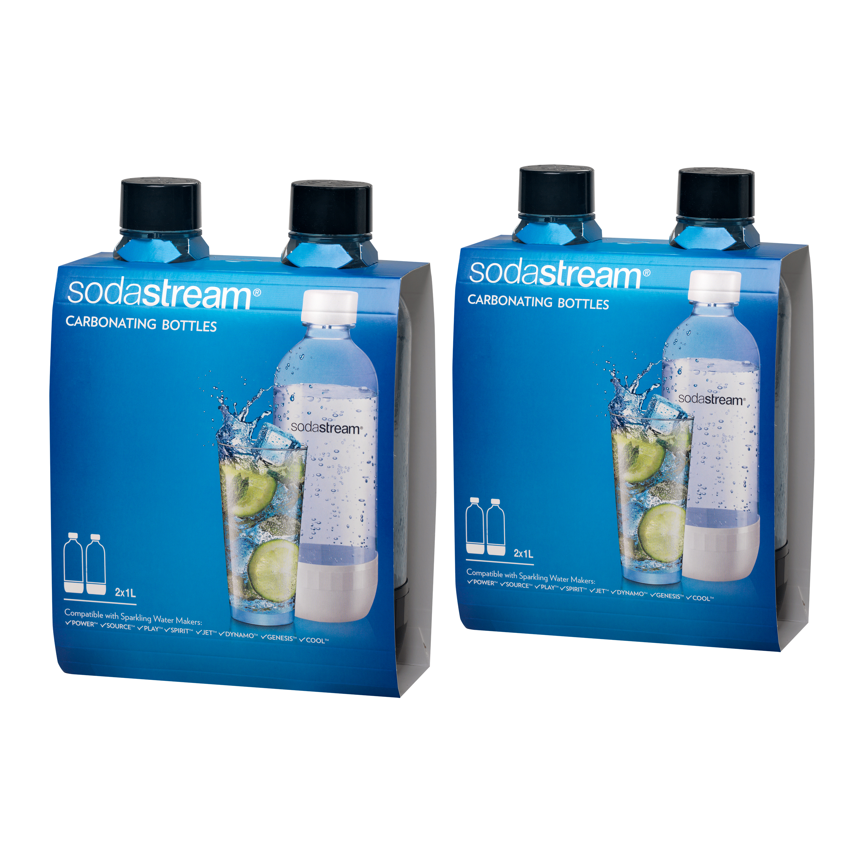 SodaStream 1 Liter Carbonating Bottles 4-Pack, Black