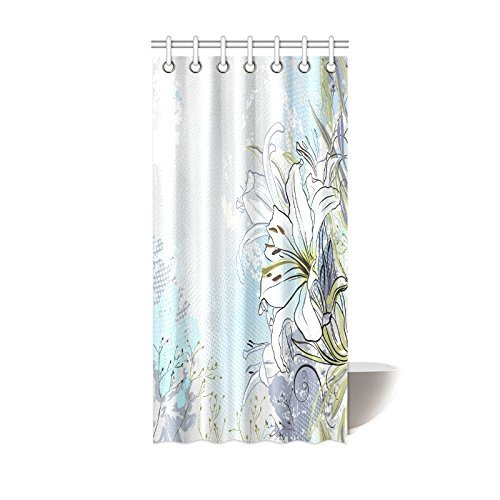 GCKG White Lily Flower Shower Curtain Decor Lilies Flowers Paisley Modern Abstract Picture Design Polyester Fabric Bathroom 36x72 Inches