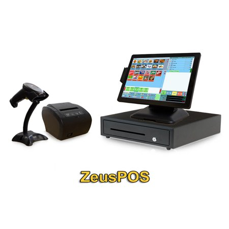 Retail Point of Sale System - includes Touchscreen PC, POS Software (Zeus POS), Receipt Printer, Scanner, Cash Drawer, Credit Card Swipe Reader, and Integrated Dot Matrix Customer
