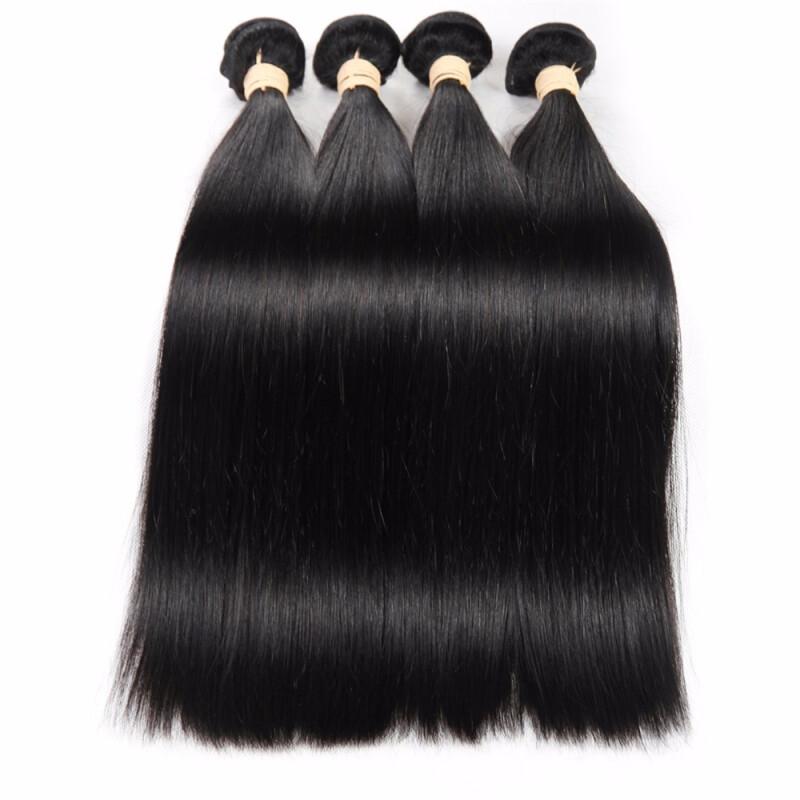 "HCDIVA Brazilian Virgin Straight Hair 4 Bundles Natural Black Human Hair Extensiosn, 8""10""12""14"""