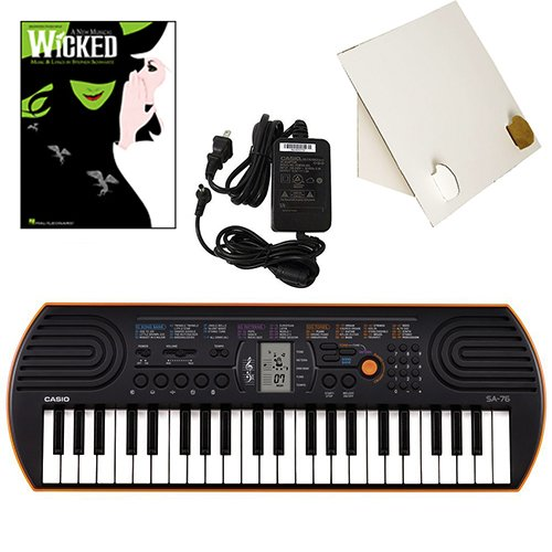 Casio SA-76 44 Key Mini Keyboard Deluxe Bundle Includes Bonus Casio AC Adapter, Desktop Music Stand & Wicked Beginning Piano Solo Songbook