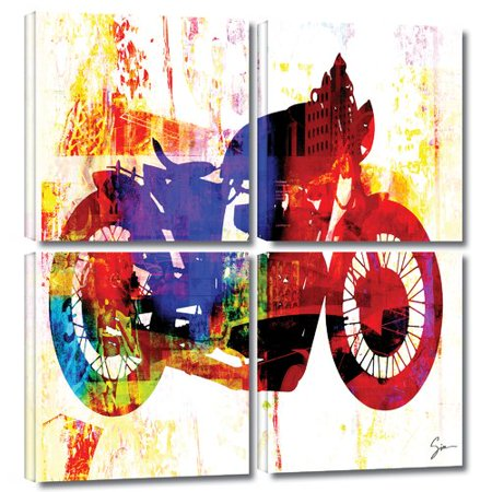 Artwall Moto Iii By Greg Simanson 4 Piece Graphic Art On Wrapped Canvas Set