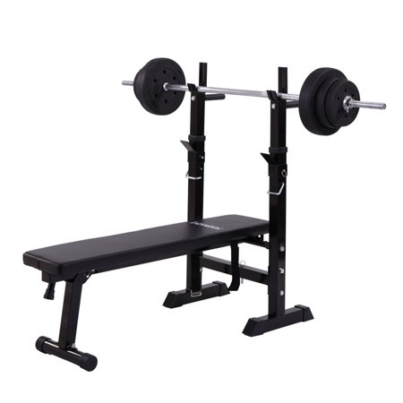 - Jaxpety Weight Lifting Folding Bench With Rack Home Gym Workout Adjustable Strength