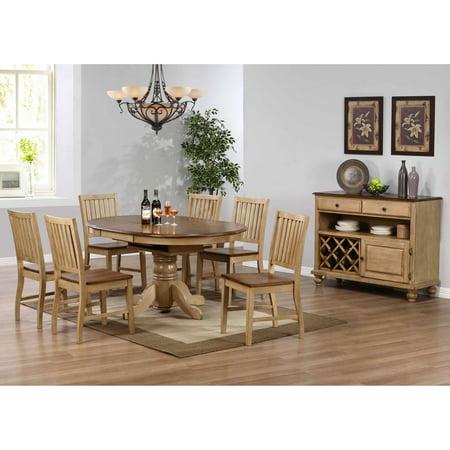 (Sunset Trading 8-Piece Brook Pedestal Dining Set with Server)