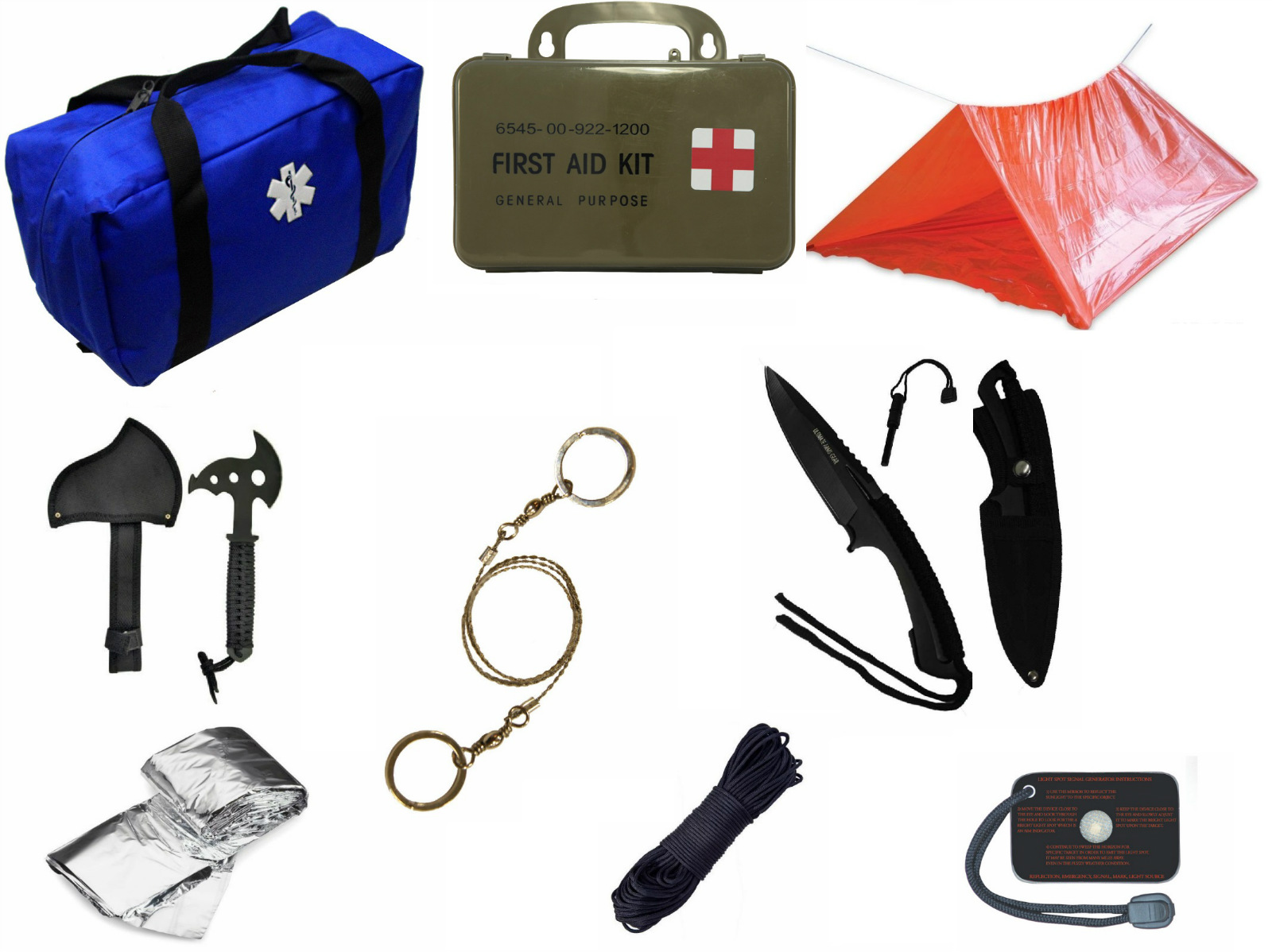 Ultimate Arms Gear Blue Emergency Survival Rescue Bag Kit; Signal Mirror, Polarshield Blanket, Knife Fire Starter, Wire... by
