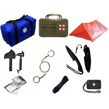 Ultimate Arms Gear Blue Emergency Survival Rescue Bag Kit  Signal Mirror  Polarshield Blanket  Knife Fire Starter  Wire Saw  Axe  50 Foot Paracord  Camping Tube Tent   First Aid Kit
