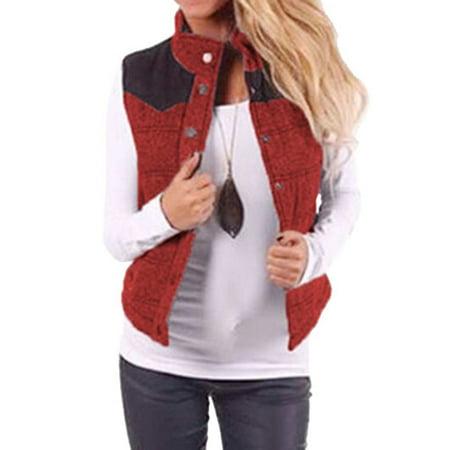 DBoard Women Color Block Vest Jacket Stand Collar Autumn Winter Coat