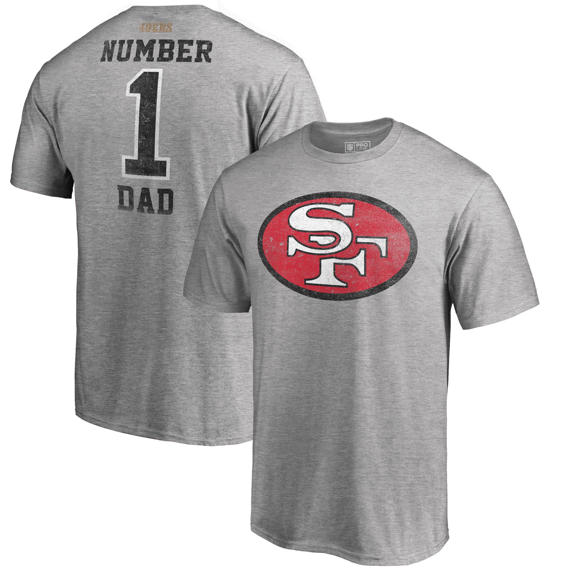 San Francisco 49ers NFL Pro Line by Fanatics Branded Big and Tall Greatest Dad Retro Tri-Blend T-Shirt - Heathered Gray