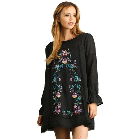 4922d9e52863 Umgee - Umgee Women's Black A Line Dress with Floral Embroidery Details -  Walmart.com