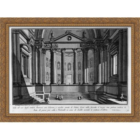 Room use of the ancient Romans with columns and niches adorned with statues 36x28 Large Gold Ornate Wood Framed Canvas Art by Giovanni Battista Piranesi
