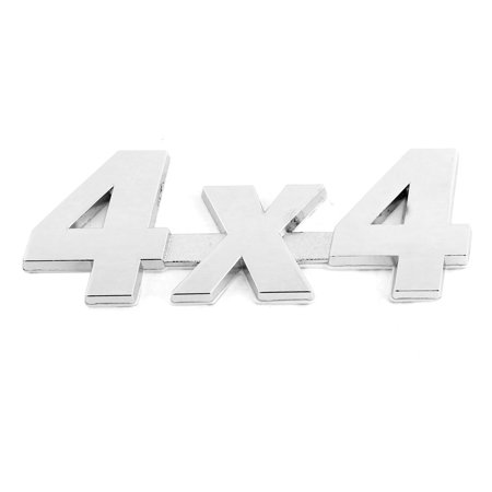Unique Bargains Car Exterior Adhesive Silver Tone Metal 4X4 Shaped Sticker Badge Emblem Decor