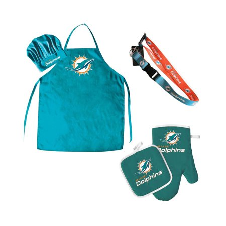 6262f94a NFL Miami Dolphins Sports Team Logo Combo BBQ Set - Chef Hat, Apron, Oven  Mitt Pot Holder and Lanyard