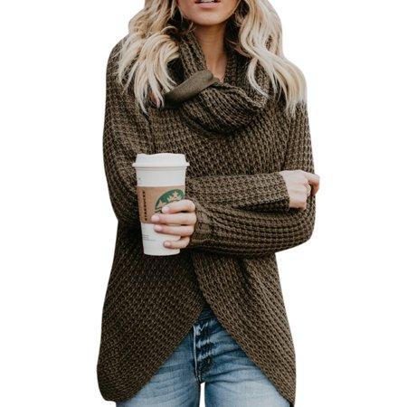 39d31da8224750 Sexydance - Women s Polo Neck Long Sleeve Baggy Knitted Sweater Jumper  Cardigan Knitwear Outwear Tops - Walmart.com