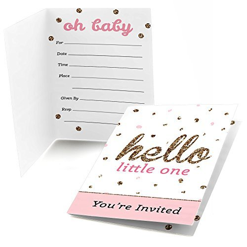 Hello Little One - Pink and Gold - Fill In Girl Baby Shower Party Invitations (8 count)