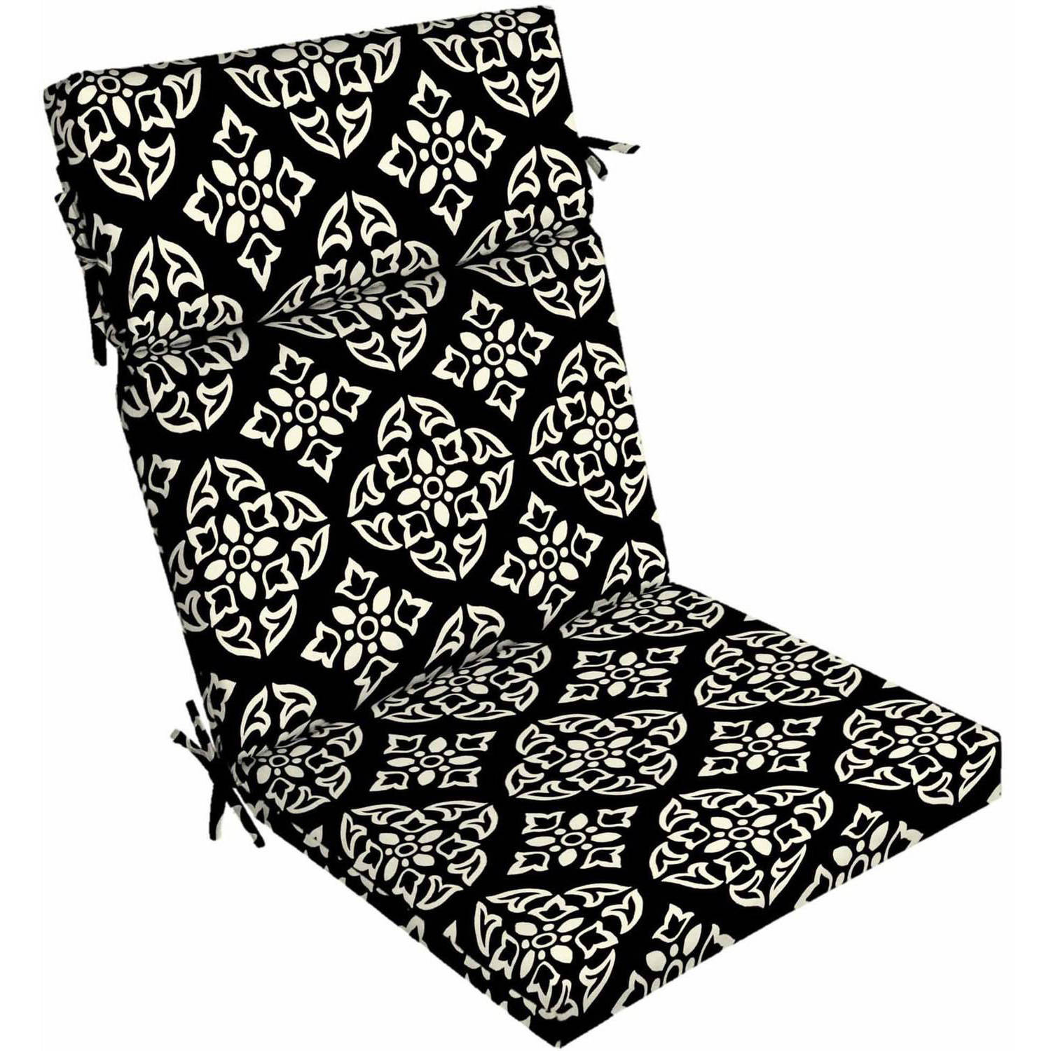 """Better Homes & Gardens Black and White Medallion Outdoor Patio Dining Chair Cushion, 21""""W x 44""""D x 4.5""""H"""