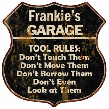 UPC 786359285472 product image for Frankie's Garage Tool Rules Personalized Shield Metal Sign Gift 211110003403 | upcitemdb.com