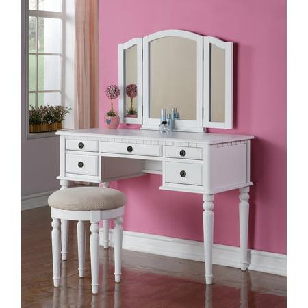 Bobkona St. Croix 3 Fold Mirror Vanity Table with Stool Set, White ()