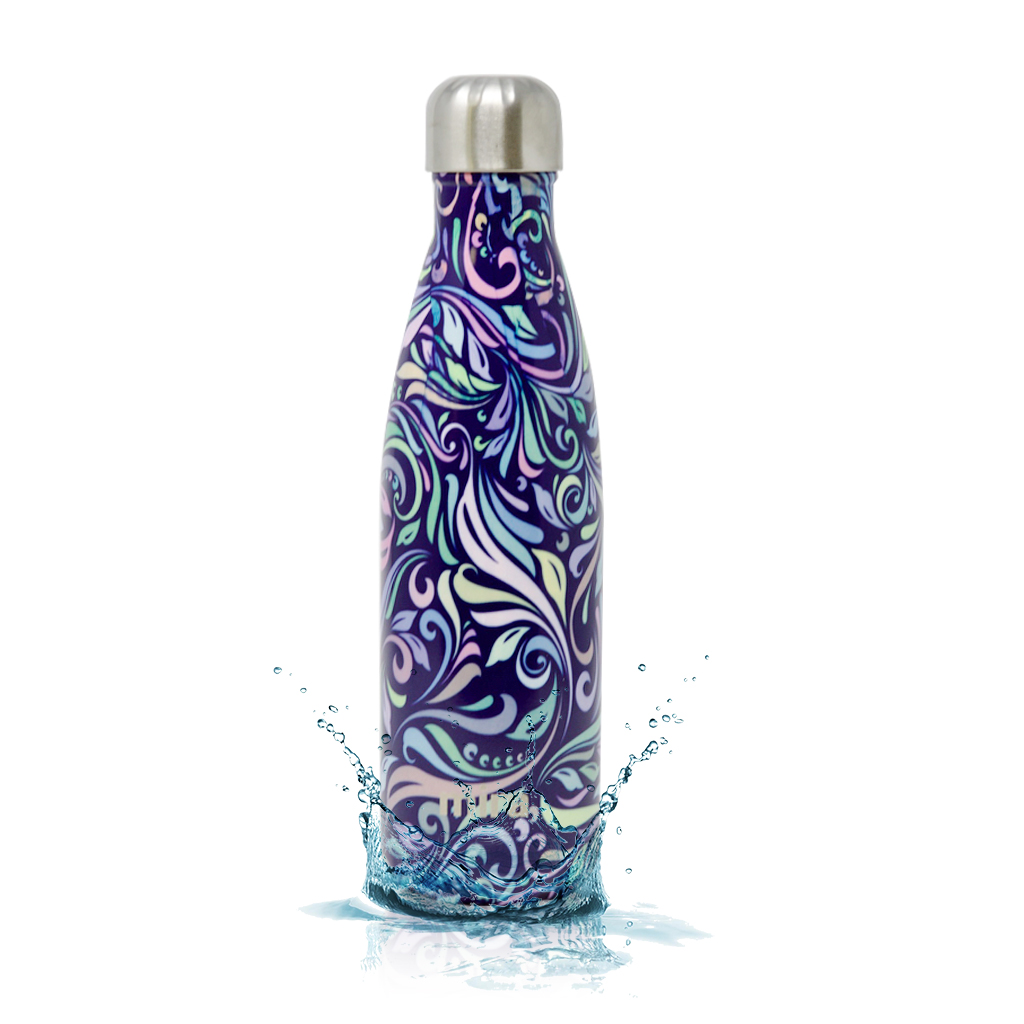 MIRA Vacuum Insulated Travel Water Bottle   Leak-proof Double Walled Stainless Steel Cola Shape Portable Water Bottle   No Sweating, Keeps Your Drink Hot & Cold   17 Oz (500 ml)   Swirl